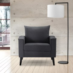 Fabric Accent Chairs Living Room Small Ideas With Corner Fireplace Modern Linen Armchair Chair For Bedroom Dark Gray Walmart Com
