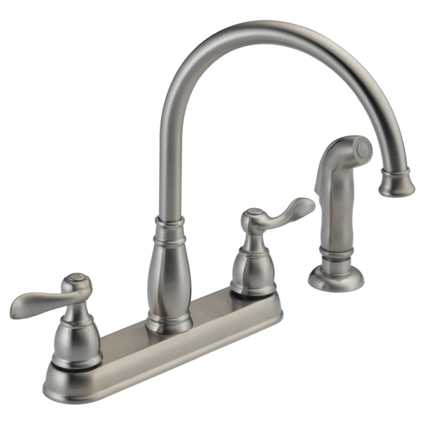 delta windemere two handle kitchen faucet in chrome 21996lf
