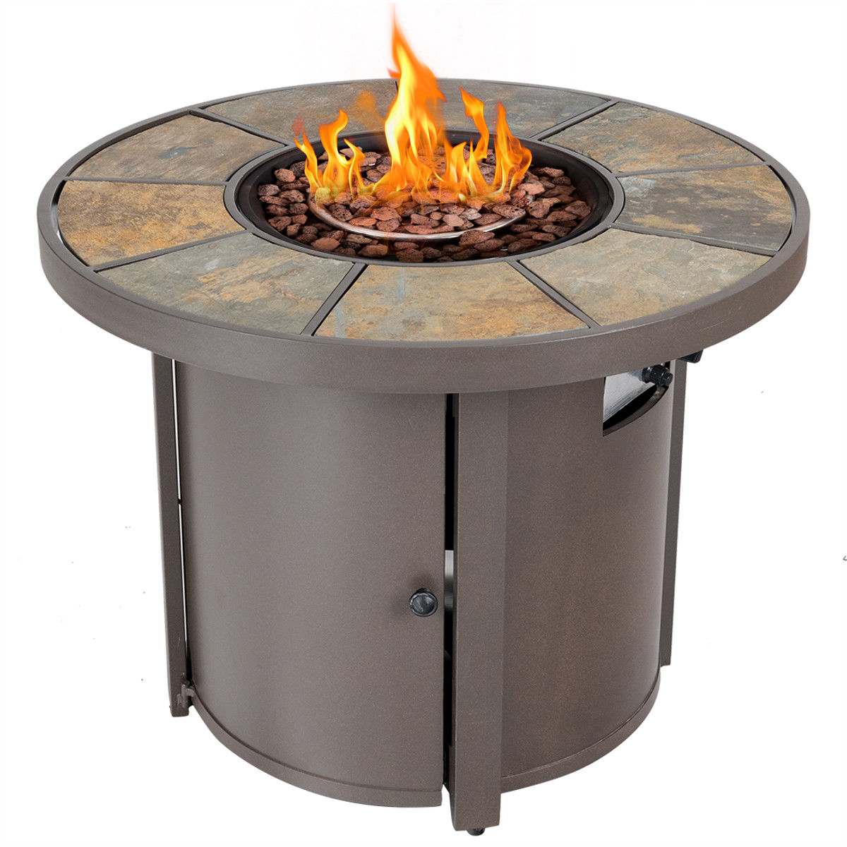 Costway 323939 Round Outdoor Propane Gas Fire Pit Table