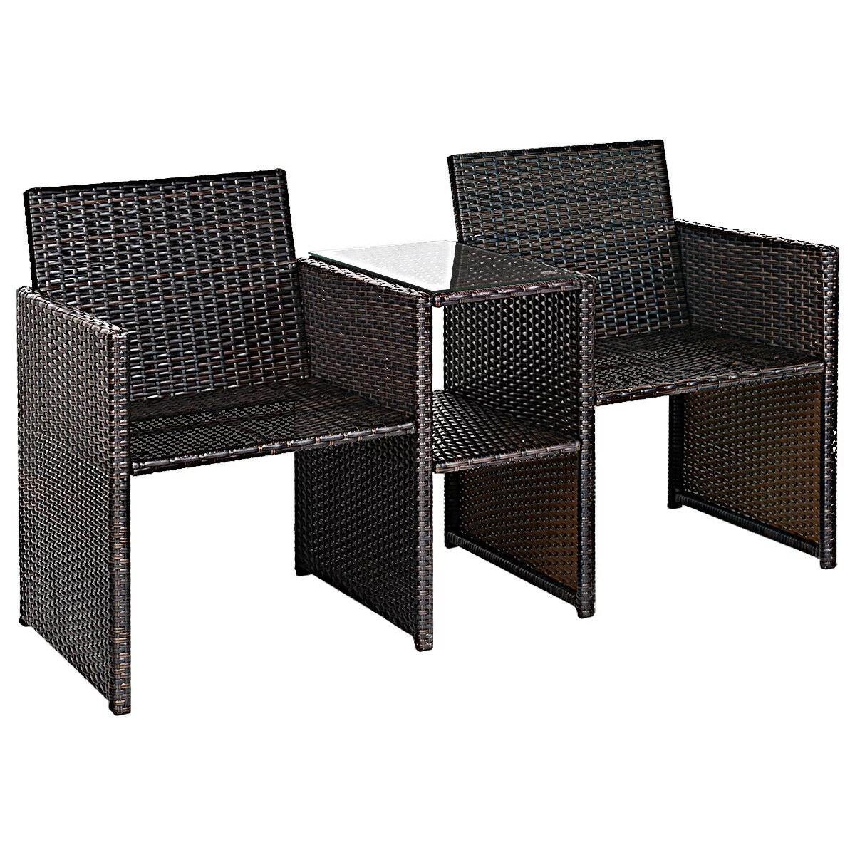 gymax piece rattan sofa set