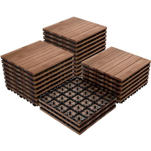 topeakmart patio pavers decking flooring deck tiles interlocking outdoor indoor wood tiles 27pcs
