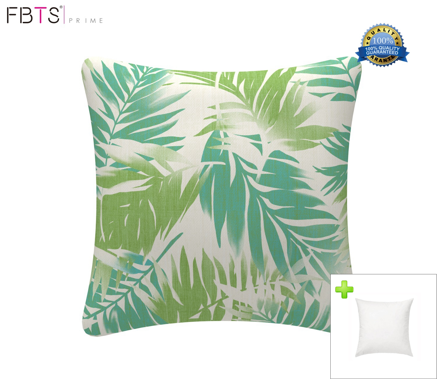 sofa box cushion covers vintage style bed throw pillow with insert indoor outdoor 18 by inches decorative square cover sham leaf mint for couch patio fbts prime