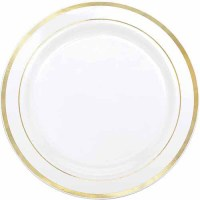 Gold Banded Plastic Dinner Plates, Pack of 10 - Walmart.com