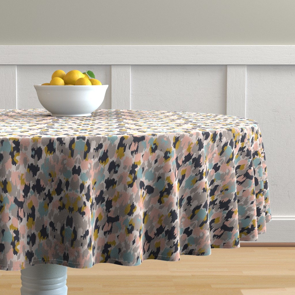 Round Tablecloth Painterly Abstract Pink Paint Brush