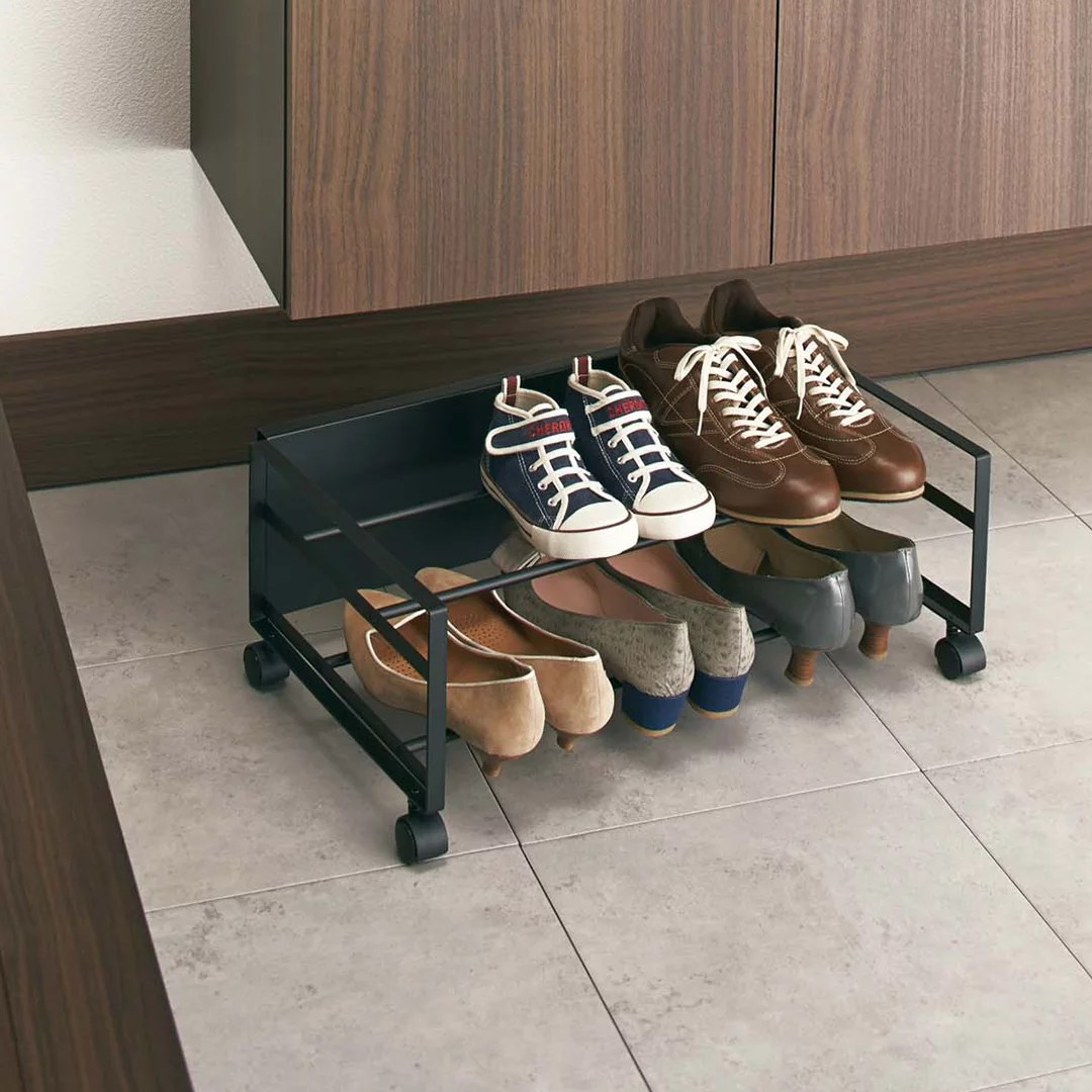 yamazaki home frame rolling shoe rack