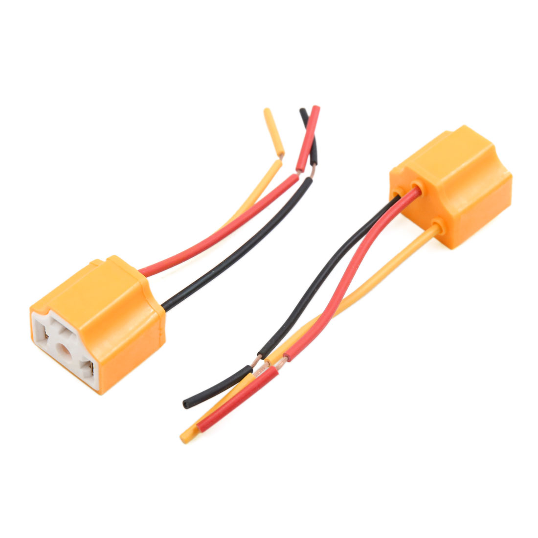 10 pcs orange 3 terminals h4 bulb socket car wire harness extension [ 1100 x 1100 Pixel ]