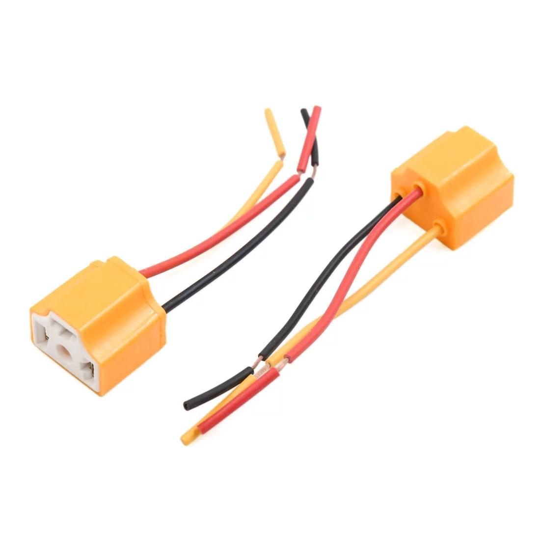 10 pcs orange 3 terminals h4 bulb socket car wire harness extension [ 1100 x 1100 Pixel ]