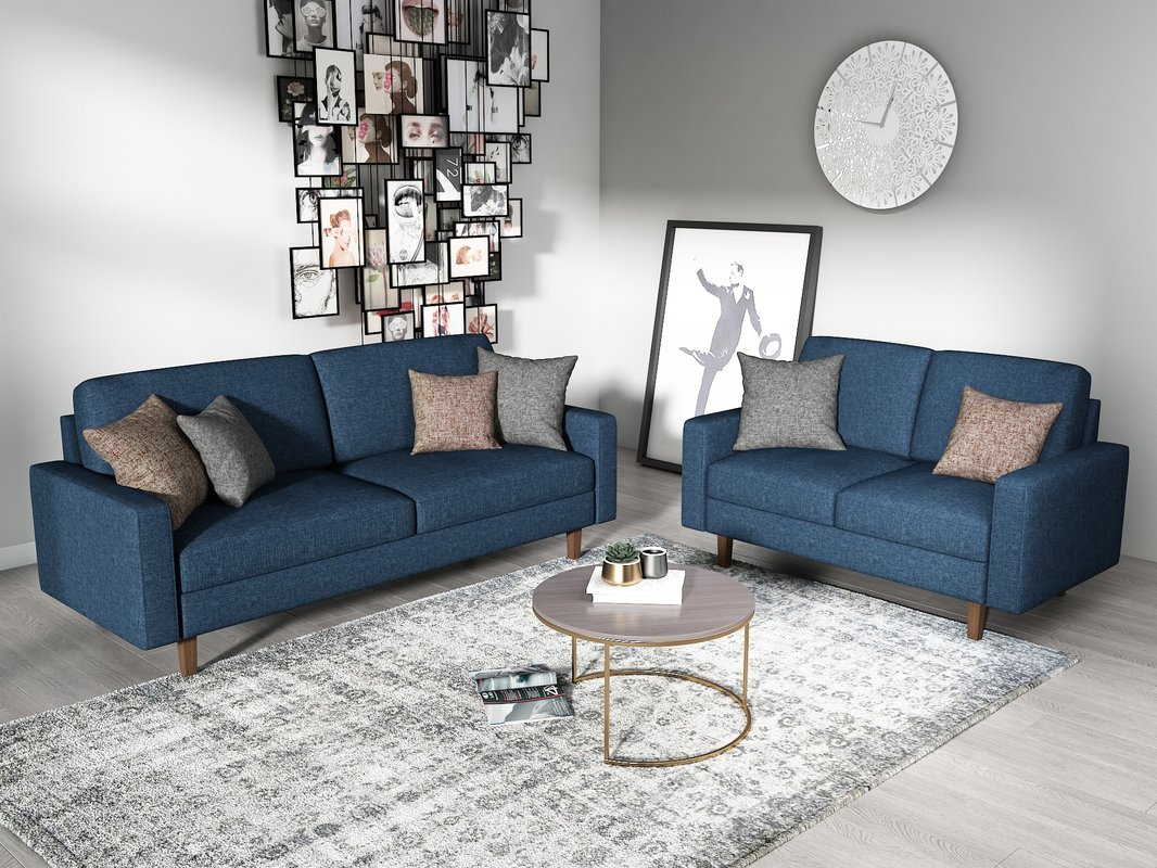 Us Pride Furniture Elvin 2 Piece Linen Fabric Living Room Set Sofa Loveseat Dark Blue Walmart Com Walmart Com