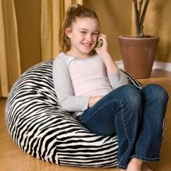 Zebra Print Bean Bag Chair Dxr Gaming Small 105 Microsuede Walmart Com