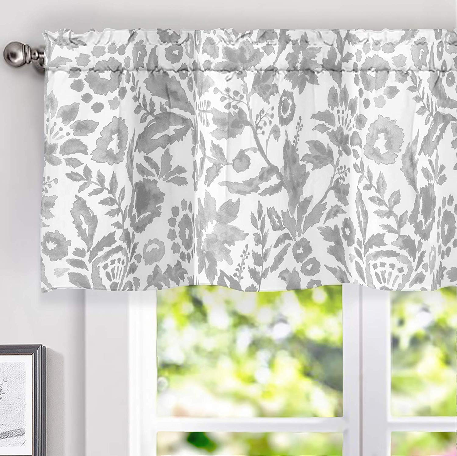 driftaway julia watercolor blooming flower floral lined thermal insulated window curtain valance rod pocket 52 inch by 18 inch plus 2 inch header gray