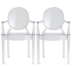 Ghost Chairs Chair Cover Hire Devon 2xhome Set Of 2 Two Clear Modern Armchair With Arm Polycarbonate Plastic Acrylic Walmart Com