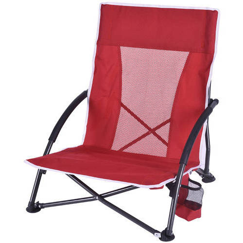 2 Folding Arm Chairs Portable Low Profile High Back