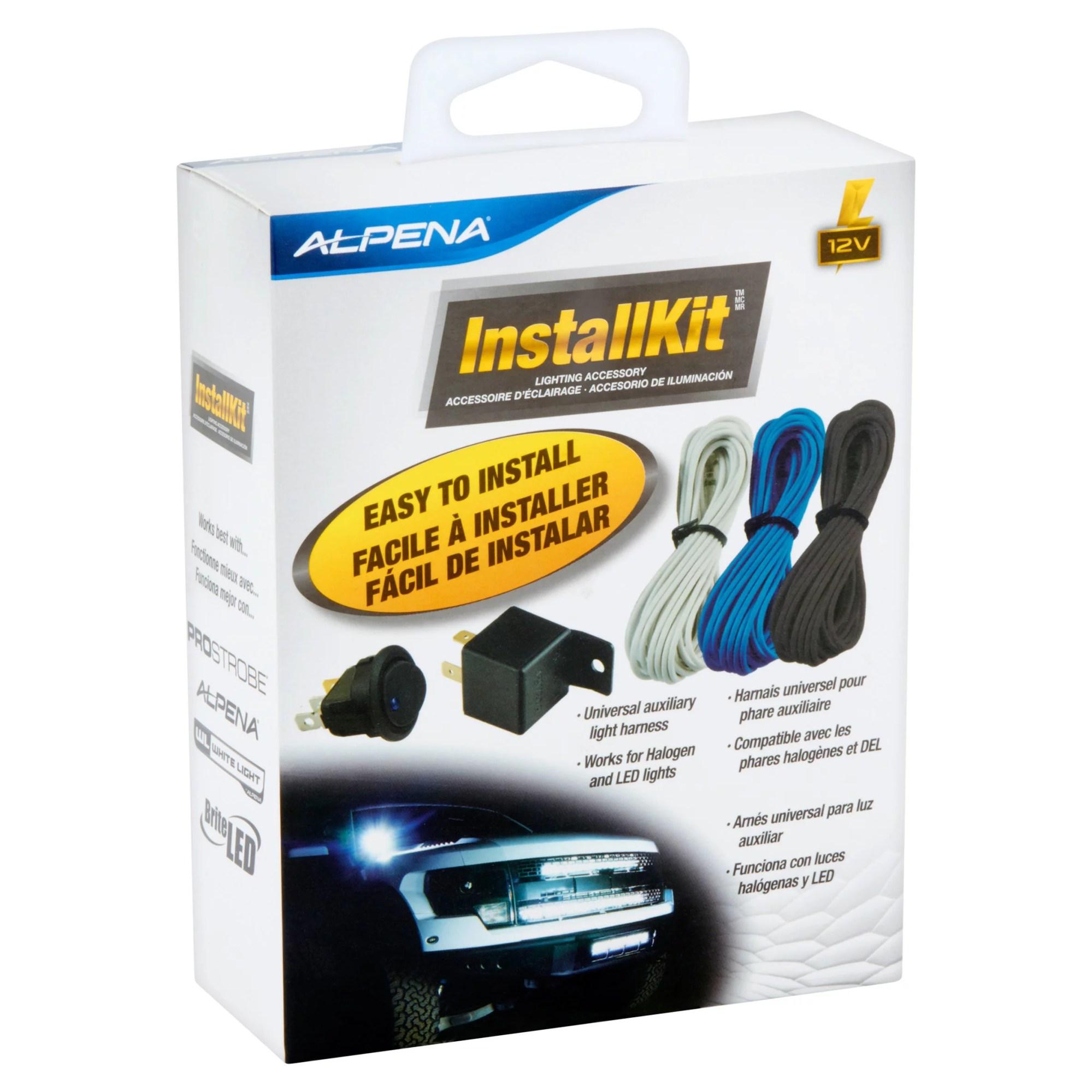 hight resolution of alpena universal automortive install kit on off rocker switch 20amp relay 3 wiring harness walmart com