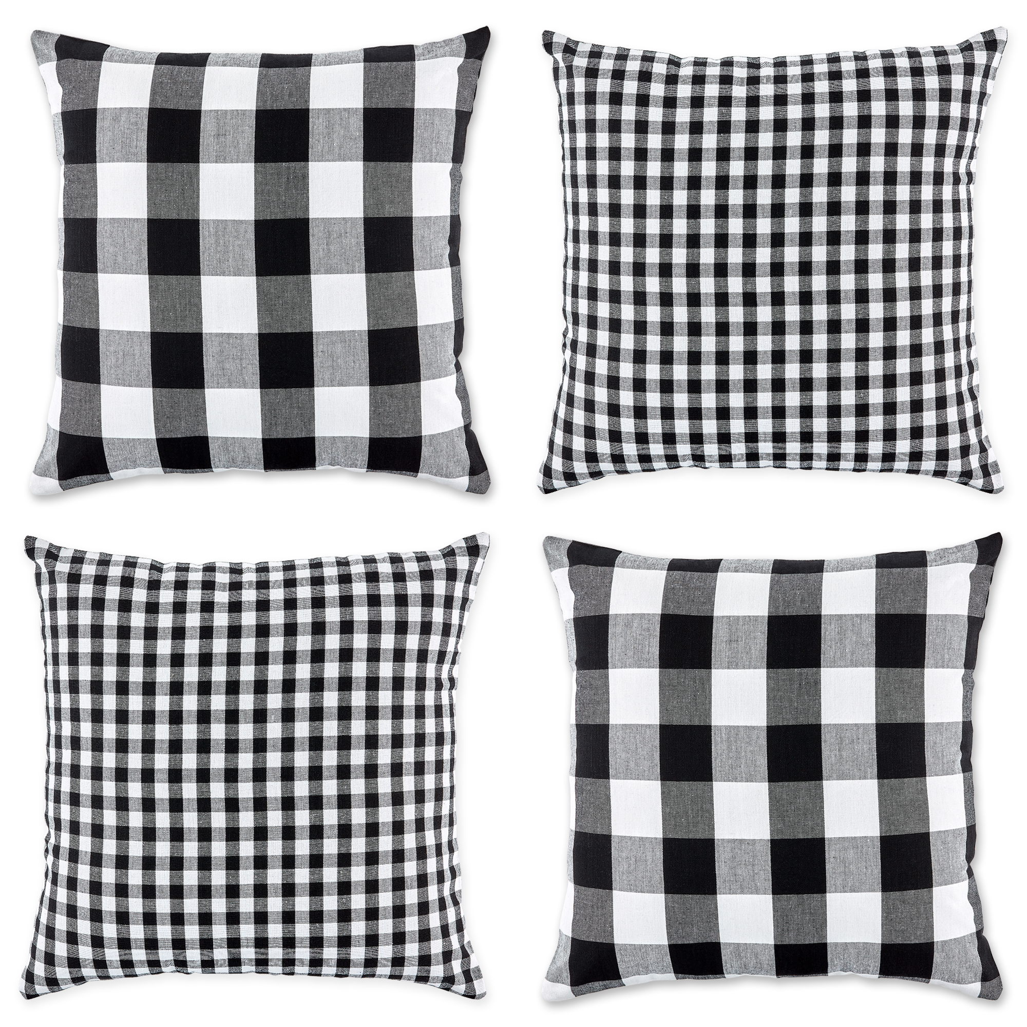 set of 4 black and white gingham and buffalo check pillow covers 18 walmart com
