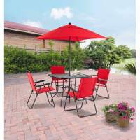 Mainstays Searcy Lane 6-Piece Padded Folding Patio Dining ...