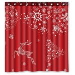 Gckg Xmas Merry Christmas Reindeer Snow Bathroom Shower Curtain Shower Rings Included Polyester Waterproof Shower Curtain 48x72 Inches