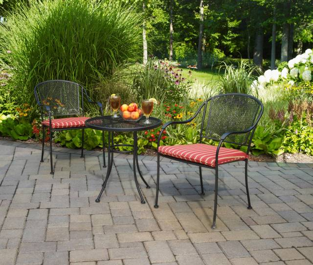 Mainstays Wrought Iron  Piece Outdoor Bistro Set Seats