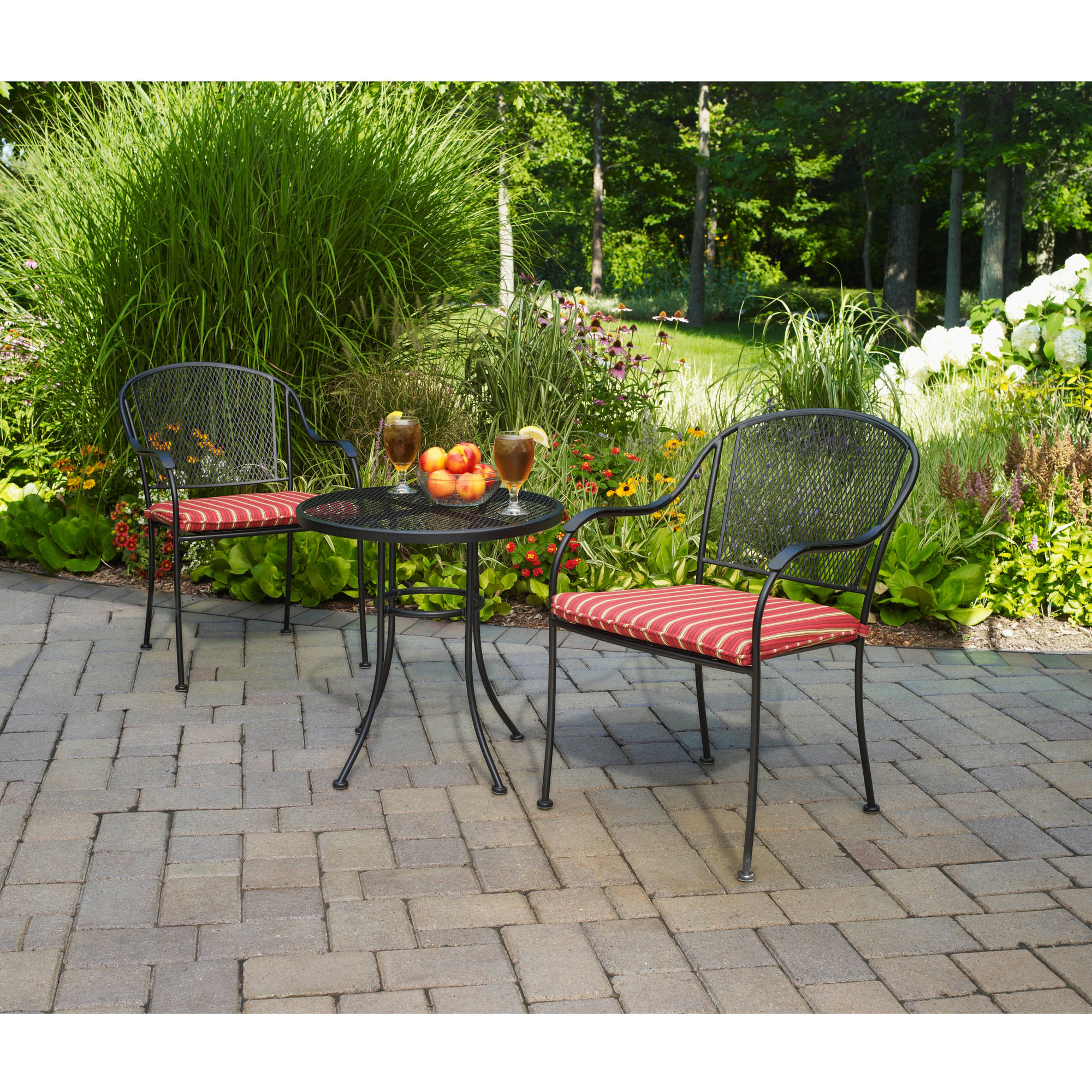 metal chairs and table wooden school mainstays wrought iron 3 piece outdoor bistro set walmart com