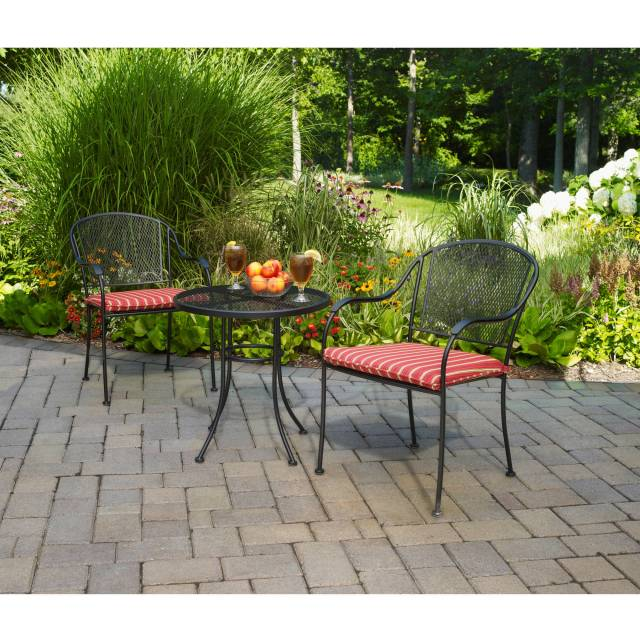 mainstays wrought iron 3-piece outdoor bistro set - walmart