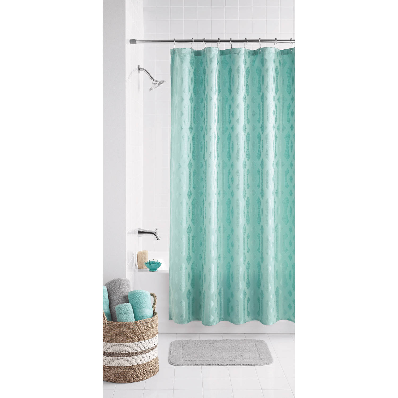 mainstays geo jacquard fabric shower curtain