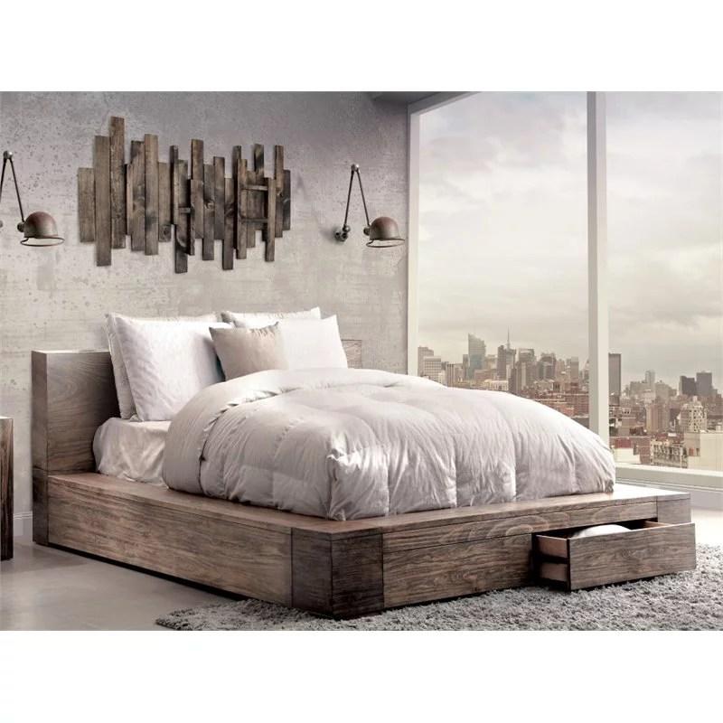 furniture of america elbert queen storage platform bed in rustic natural walmart com