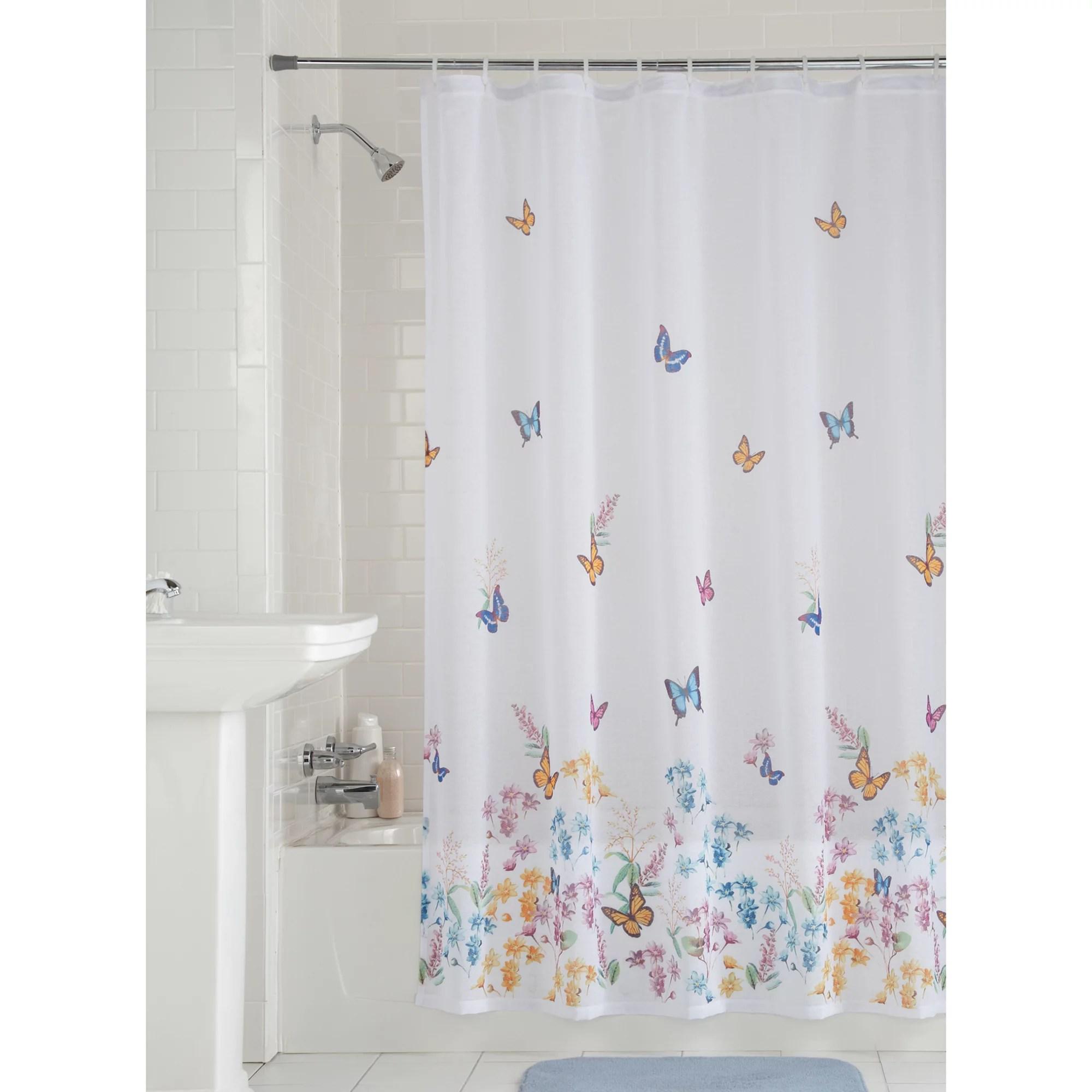 Mainstays Butterfly Fabric Shower Curtain 1 Each Walmart Com