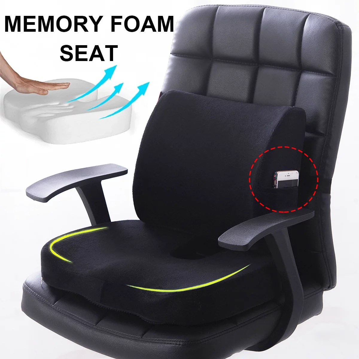 stoneway 2 pcs memory foam seat cushion chair back support lumbar car home office pillow promotes healthy posture spine alignment 4 colors