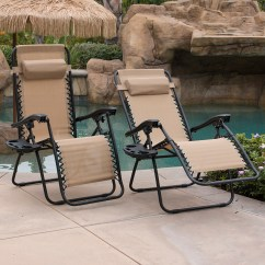 Zero Gravity Pool Chairs Rental For Baby Shower Belleze 2 Pack Patio Lounge Cup Holder Utility Tray Tan Walmart Com