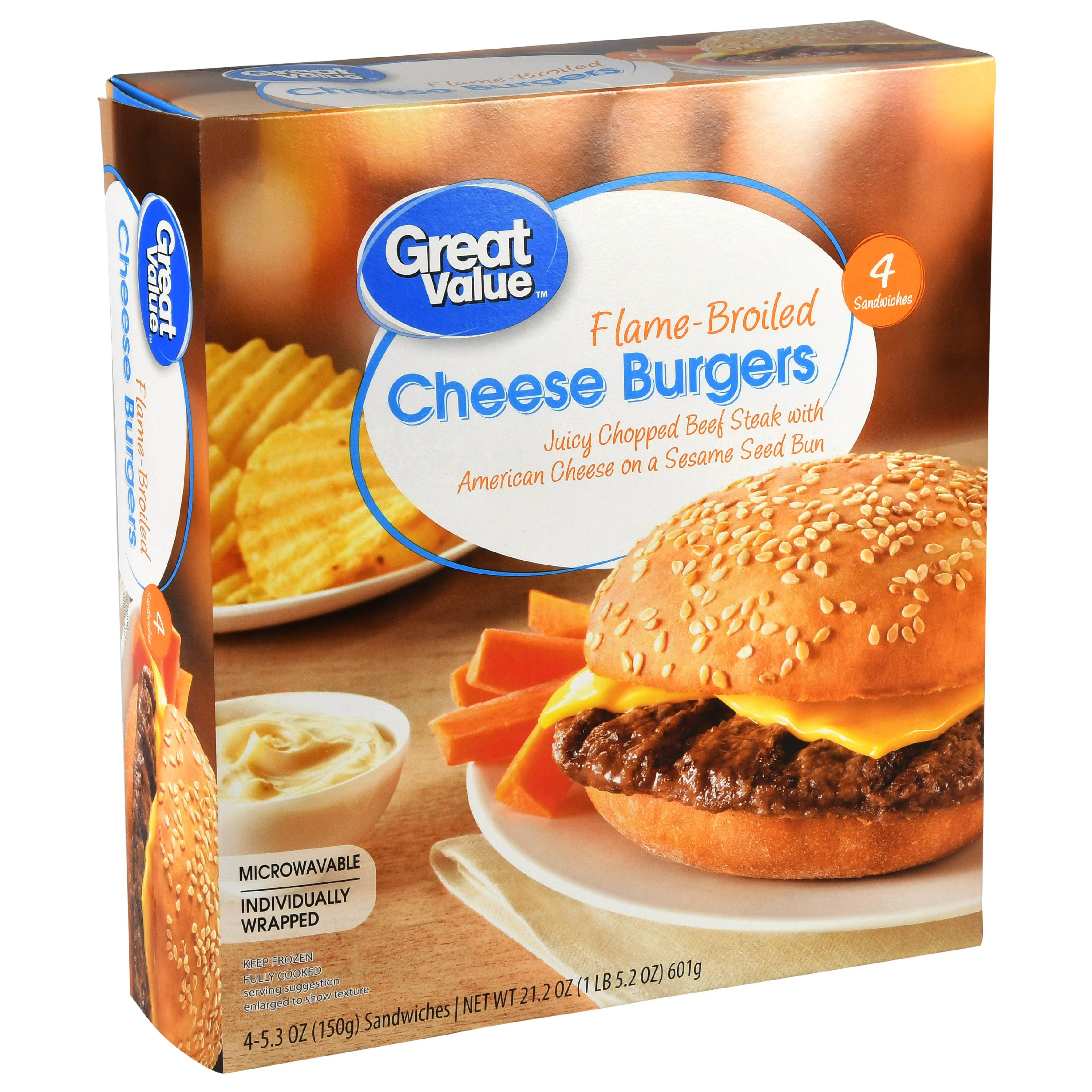 great value cheese burger sandwiches 4 count frozen