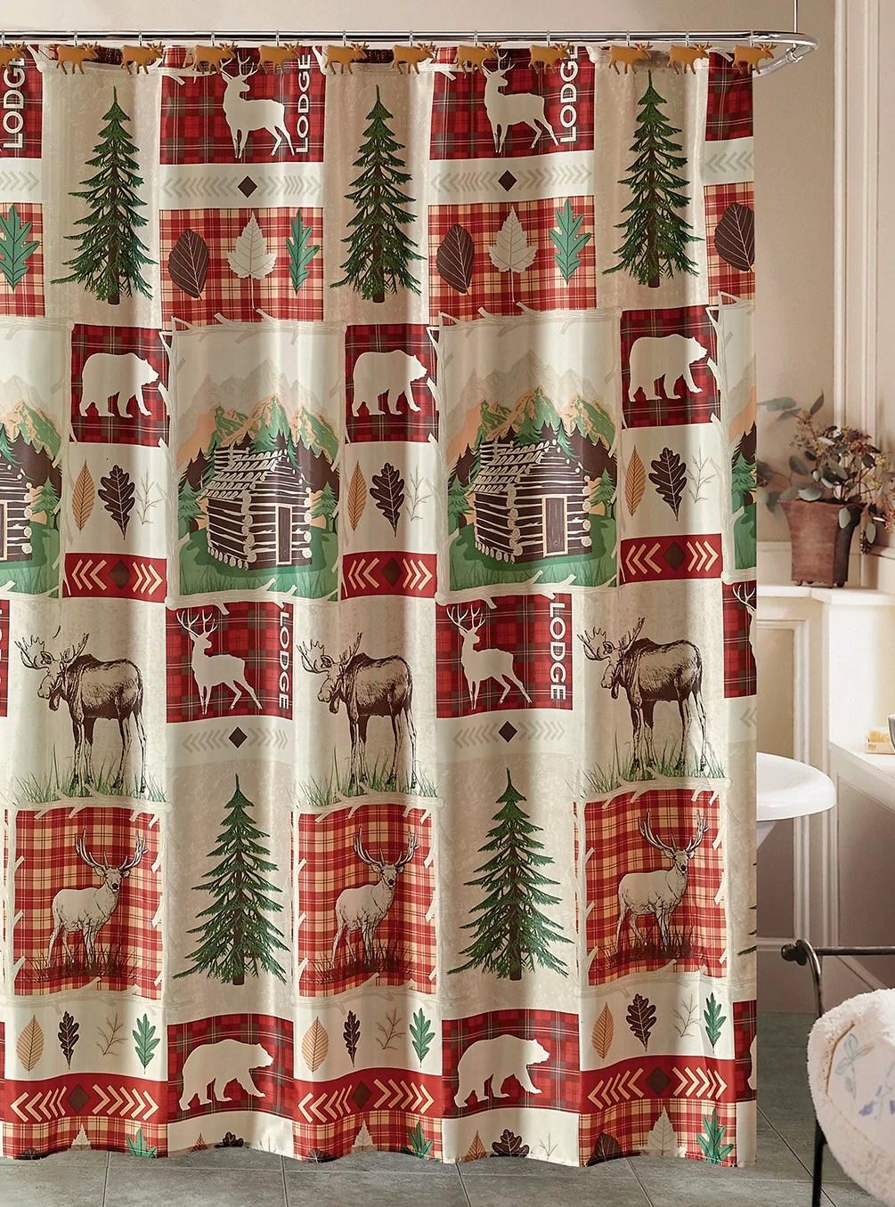 rustic lodge cabin shower curtain and 12 resin hooks set elk deer bear