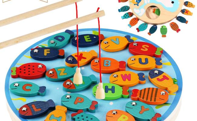 Cozybomb Magnetic Wooden Fishing Game Toy For Toddlers