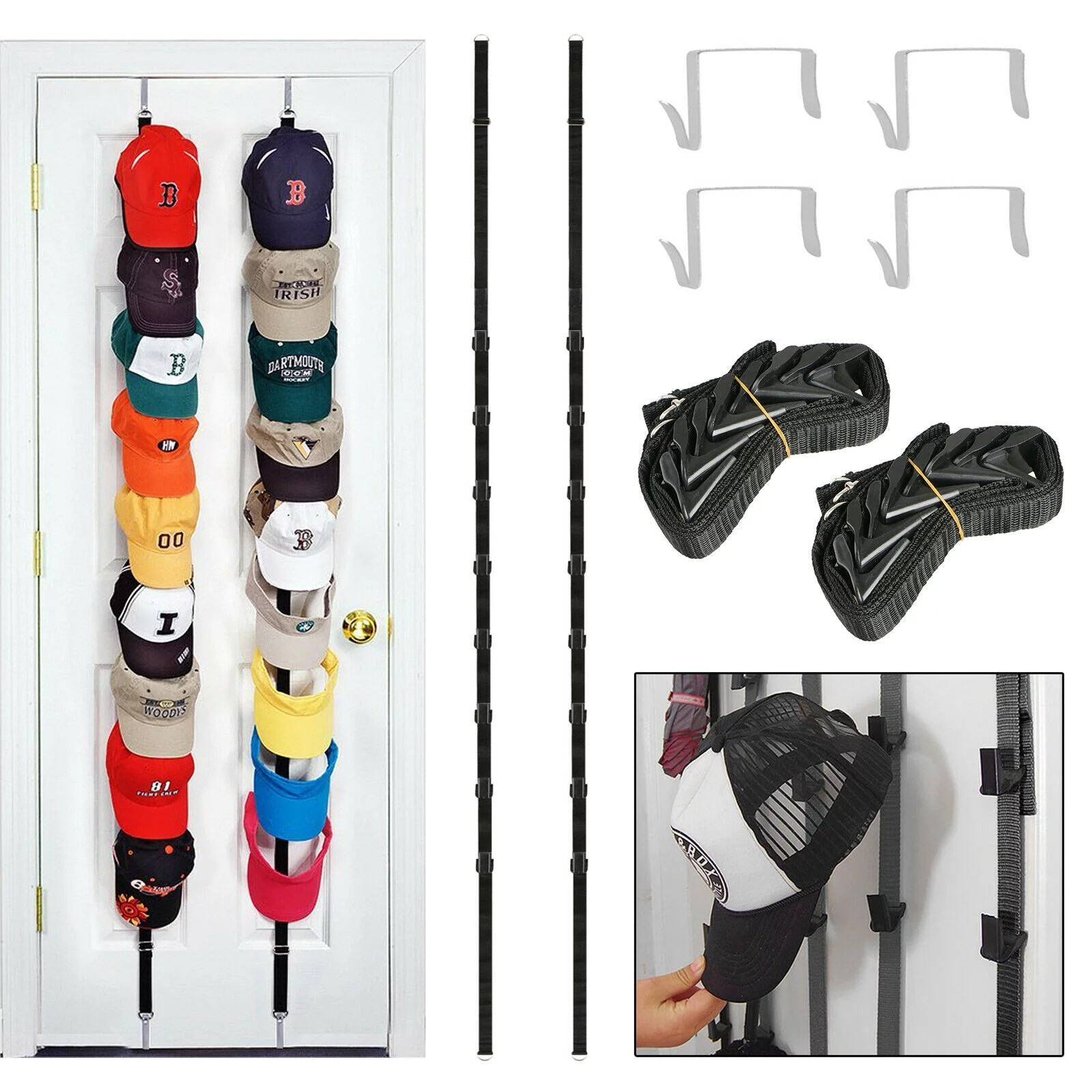 tsv 2pcs cap rack cap hanging shelf baseball cap hat holder rack hangers storage organizer over the door holds up to 16 caps for wall closet best