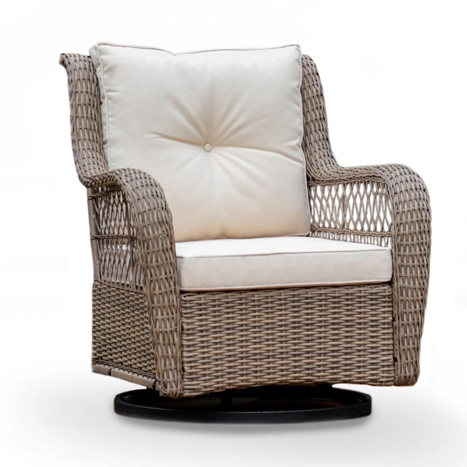 tortuga outdoor rio vista swivel glider chair beige