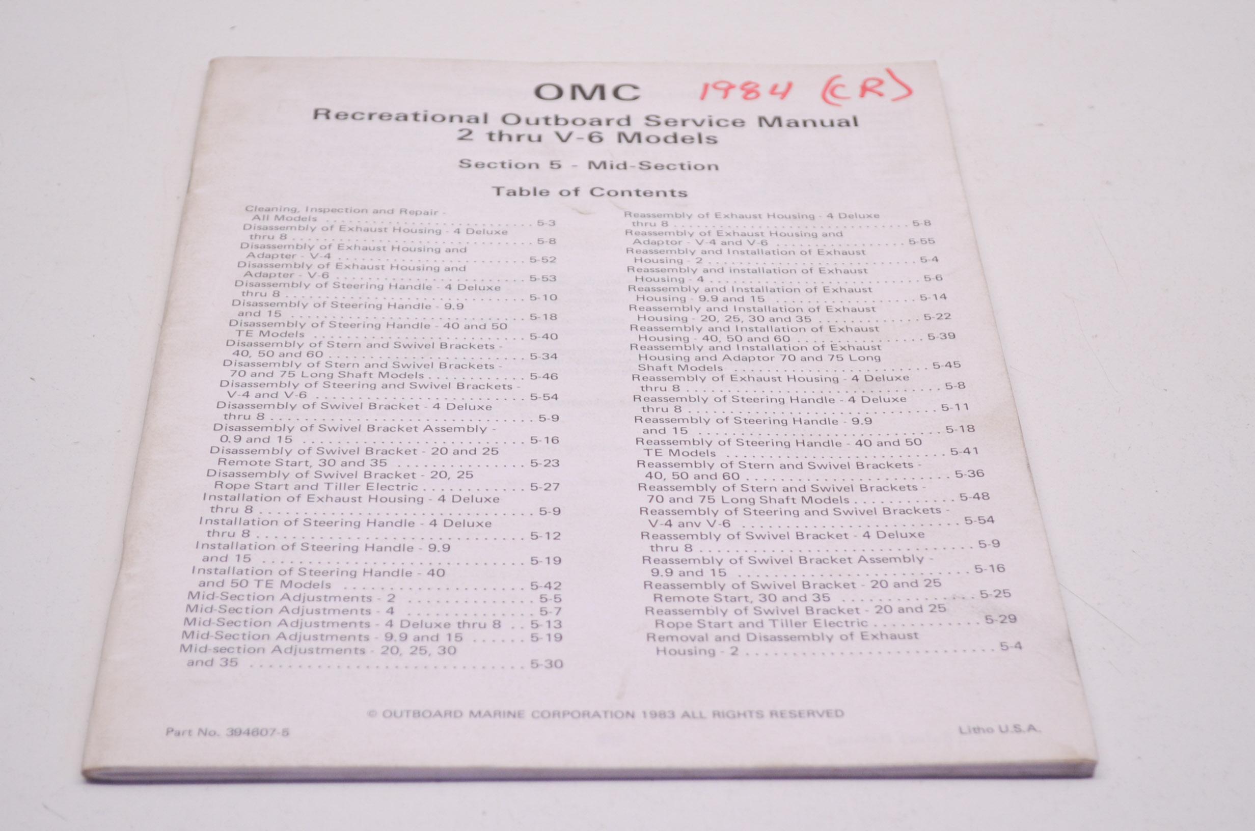 Omc Johnson Amp Evinrude 5 2 Through V 6 Models