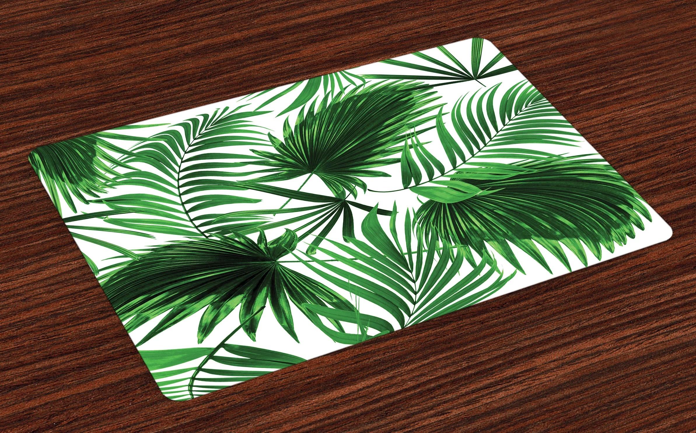 palm tree kitchen decor white set leaf placemats of 4 realistic vivid leaves