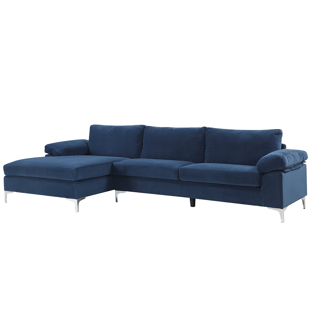 mobilis modern large microfiber velvet fabric l shape sectional sofa with extra wide chaise lounge navy