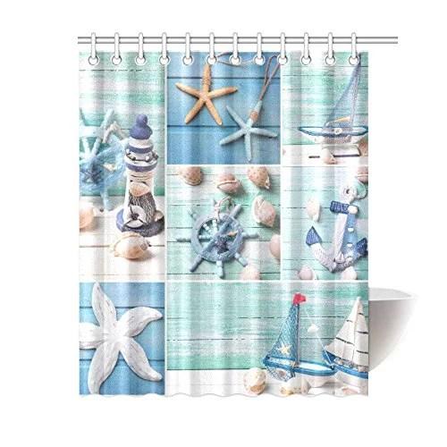 bpbop sea theme sandy beach shower curtain wooden starfish seashells polyester fabric shower curtain bathroom sets 60x72 inches