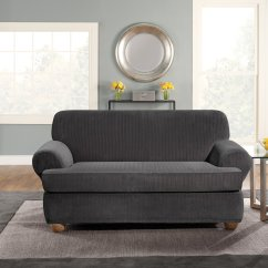 Sure Fit 2 Piece T Cushion Sofa Slipcover How To Keep Dog Off When Not Home Surefit Stretch Pinstripe Black Walmart Com