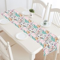 MKHERT Sweet Dreams Unicorn Cat Pug Mermaid Table Runner ...