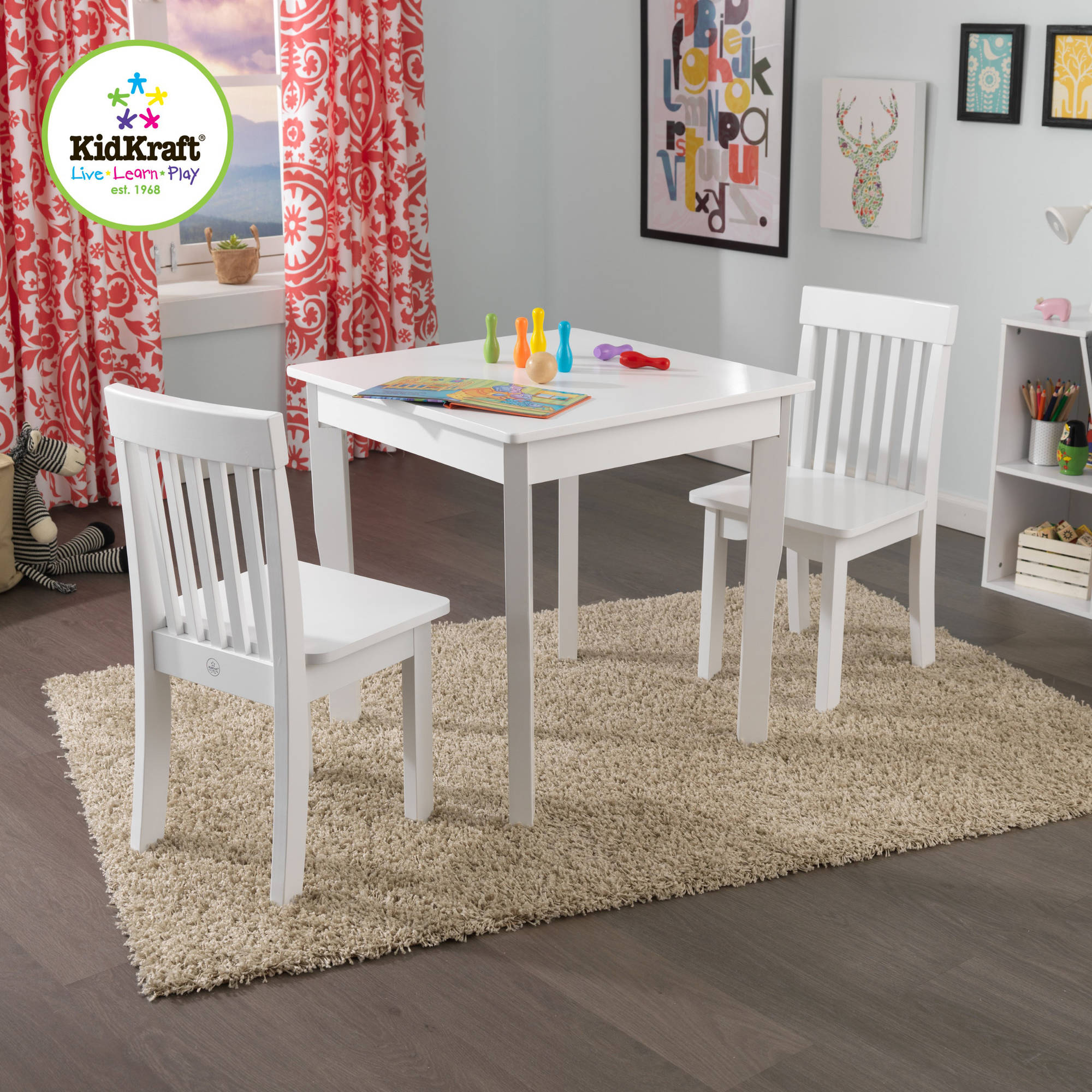 KidKraft Square Table and 2 Avalon Chairs Set White