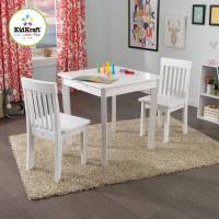 KidKraft Square Table and 2 Avalon Chairs Set, White ...