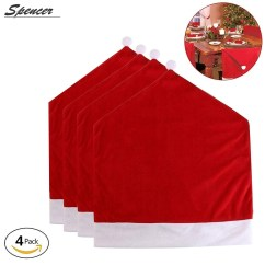 Santa Chair Covers Sets Armless Slipcovers Spencer Set Of 4 Red Hat For Christmas Holiday Festive Dinner Party Decor 24 20 Inch Walmart Com