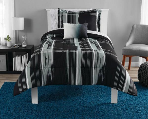 Mainstays Modern Plaid Bed In Bag Bedding Set Black