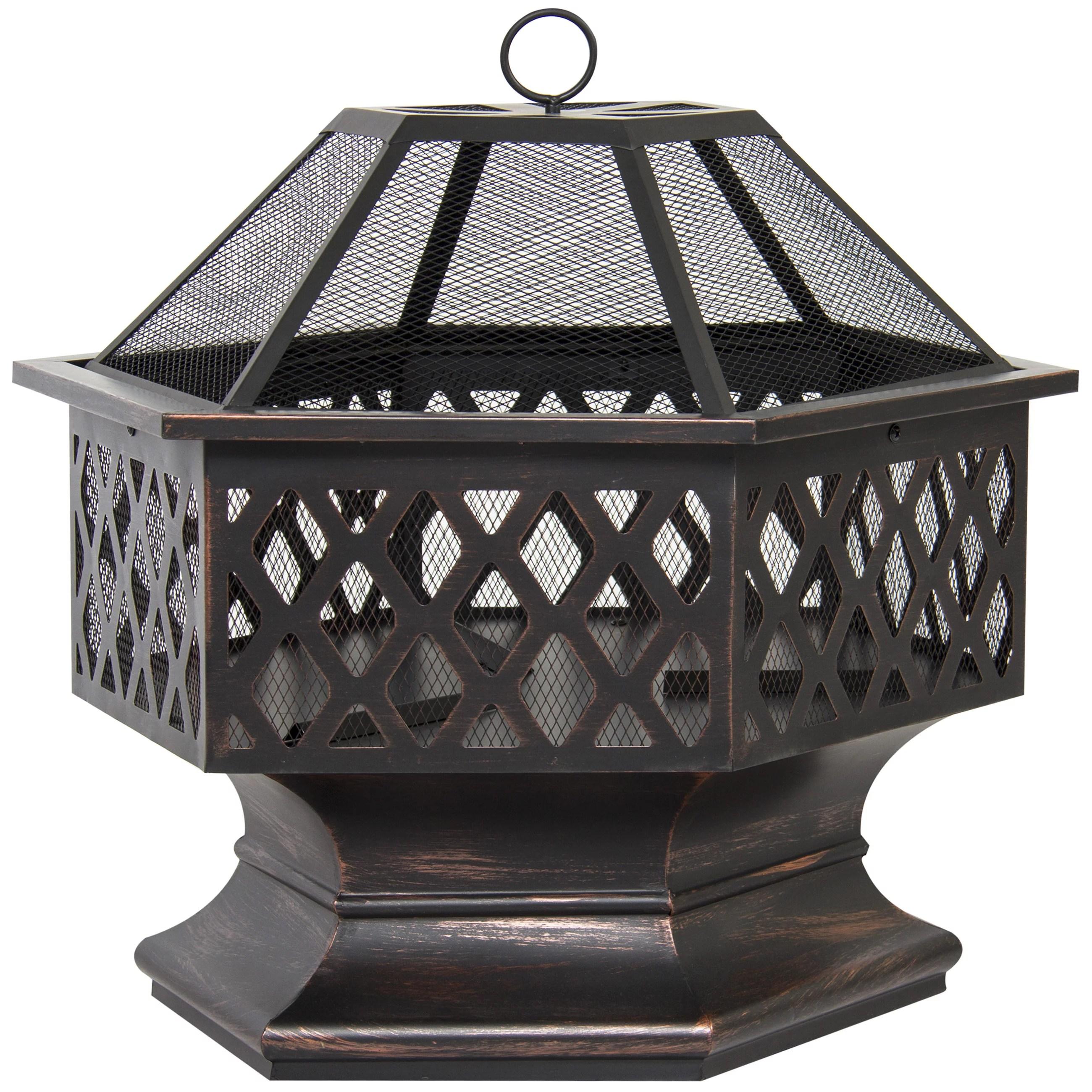 zeny 24 outdoor hex shaped patio fire pit home garden backyard firepit bowl fireplace