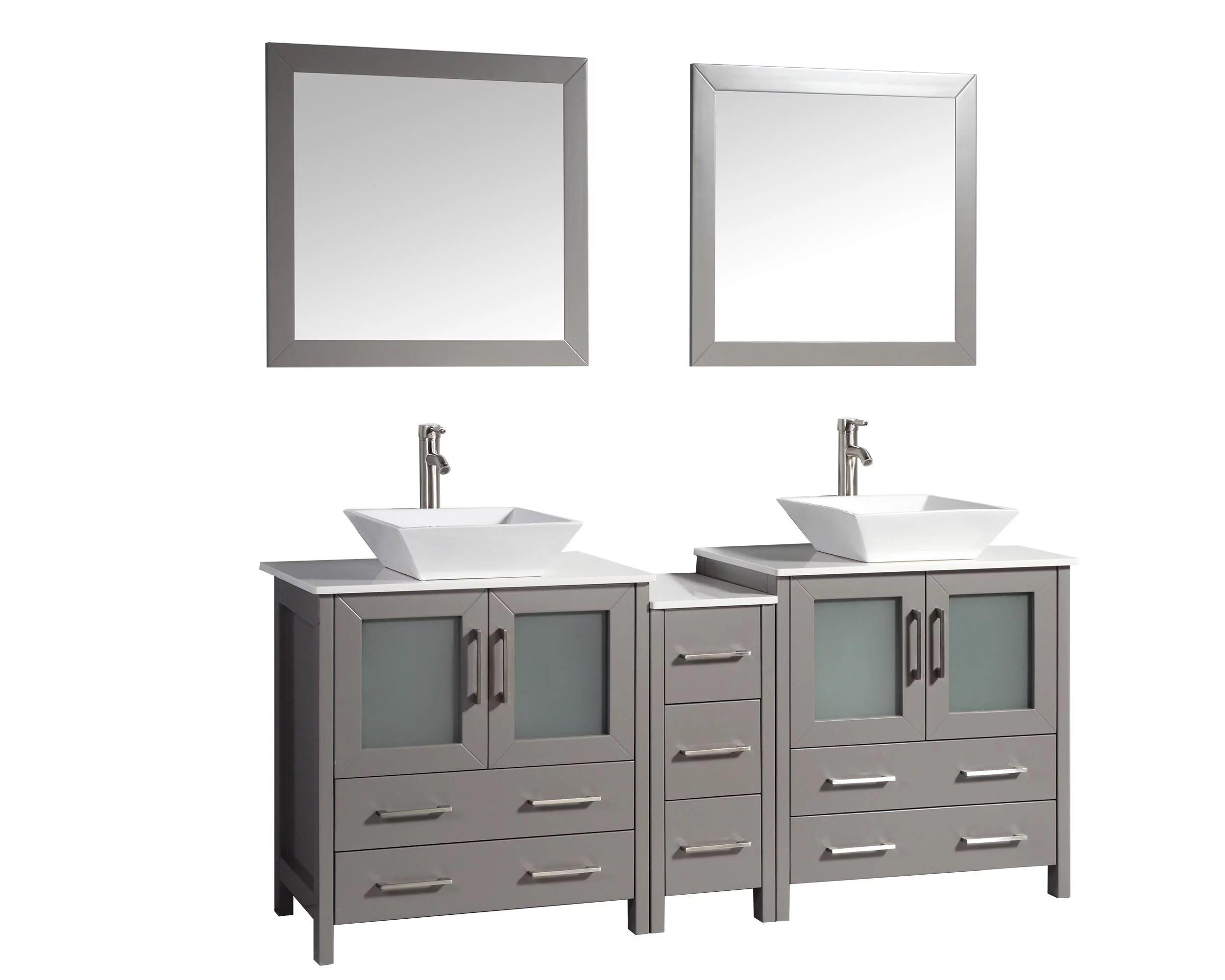 vanity art 72 inch double sink bathroom vanity set with ceramic vanity top walmart com