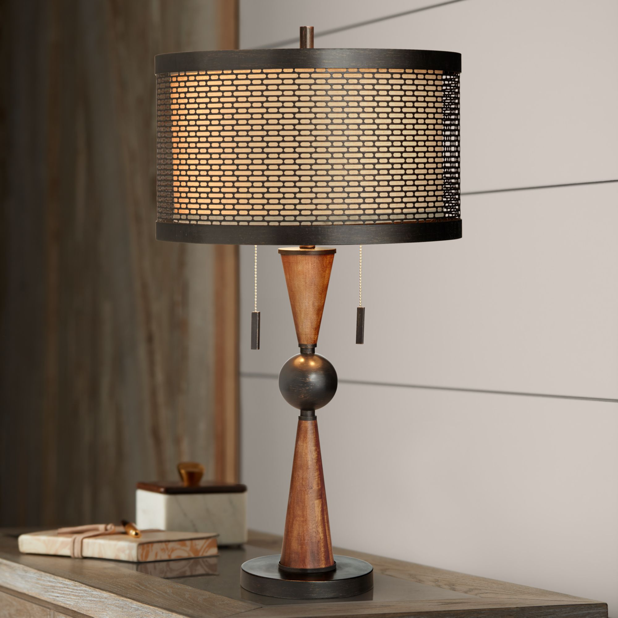 Franklin Iron Works Mid Century Modern Table Lamp Wood Bronze Metal Shade For Living Room Family Bedroom Bedside Nightstand Office Walmart Com Walmart Com