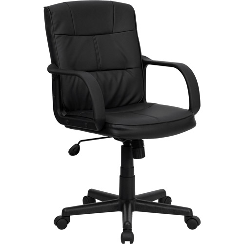 mid back office chair black Flash Furniture Mid-Back Office Chair, Black - Walmart.com