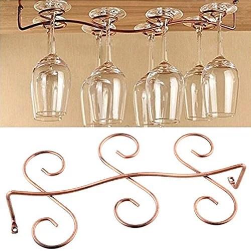 buytra under cabinet wine glass rack stemware holder for home bar holds up to 6 glasses copper color