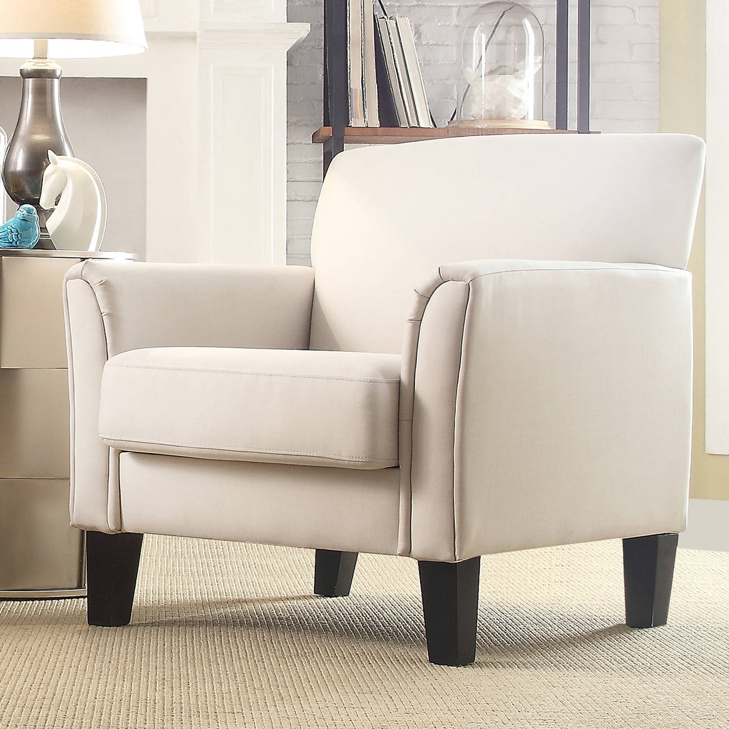 weston home tribeca living room upholstered accent chair cream white linen