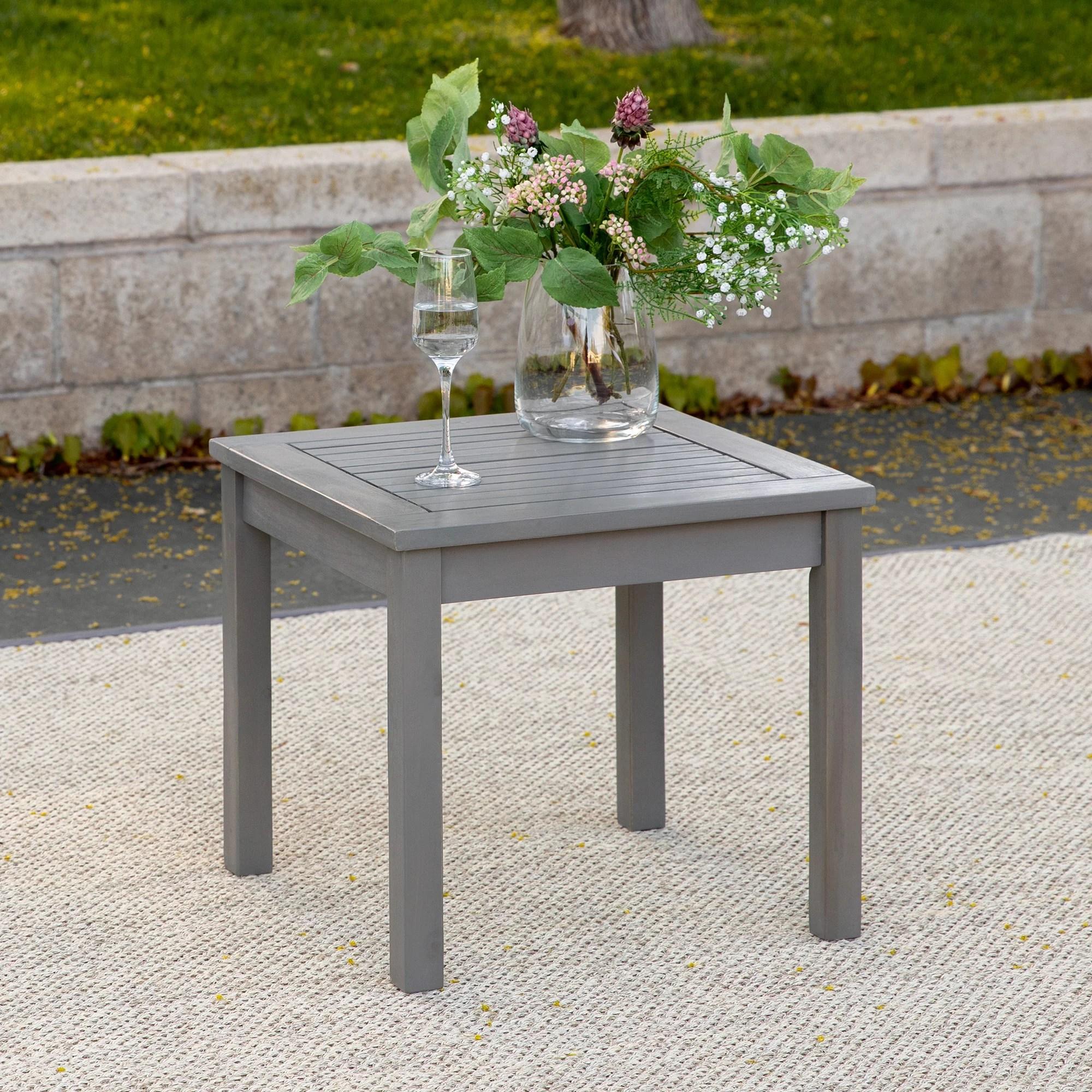 manor park acacia wood outdoor patio end table grey wash walmart com